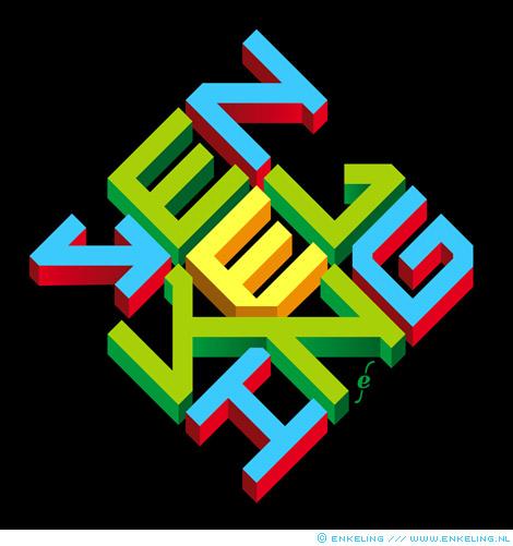 Logo, square, rhombus, strak, lettering, colorful, Enkeling, 2013