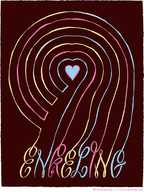 heart, lines, hand drawn, typography, lettering, pastel, Enkeling, 2013