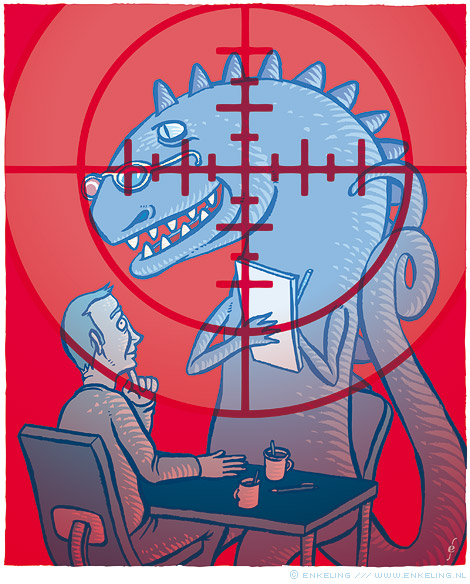 Traditional, Marketing Research, Butch Rice, outdated, tipping point, dinosaurs, Research World, drawing, illustration, Enkeling, 2013