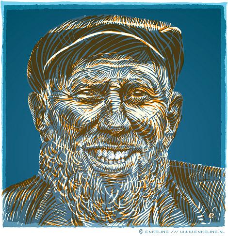 older, gentleman, old man, beard, drawing, portrait, Enkeling, 2013