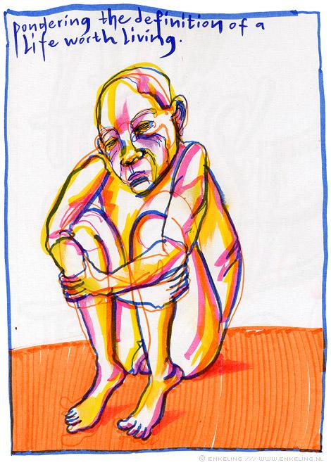 pondering, existential, man, nude, doubt, drawing, Enkeling, 2014