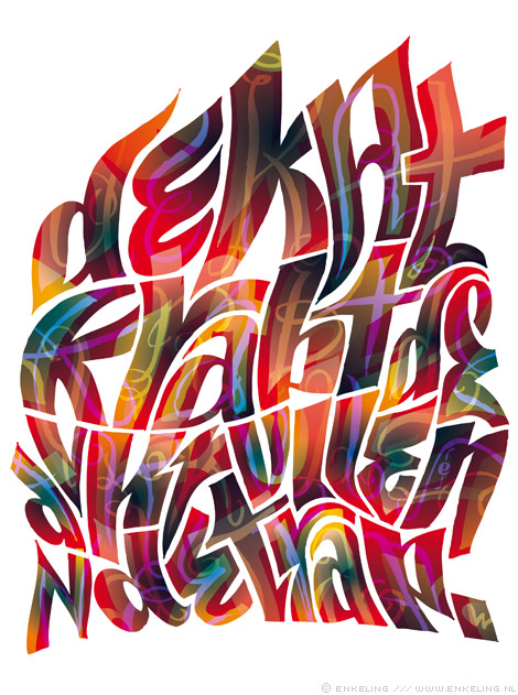 de, kat, krabt, de, krullen, van, de, trap, typografie, tongue twister, hard to read, Enkeling, 2014