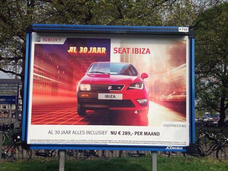 Seat, Ibiza, retro, futuristic, skyline, typography, Enkeling, 2014