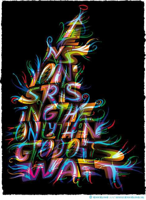 tension, is, rising, typography, layers, lettering, colorful, triangle, hard to read, Haarlem, Enkeling, 2014