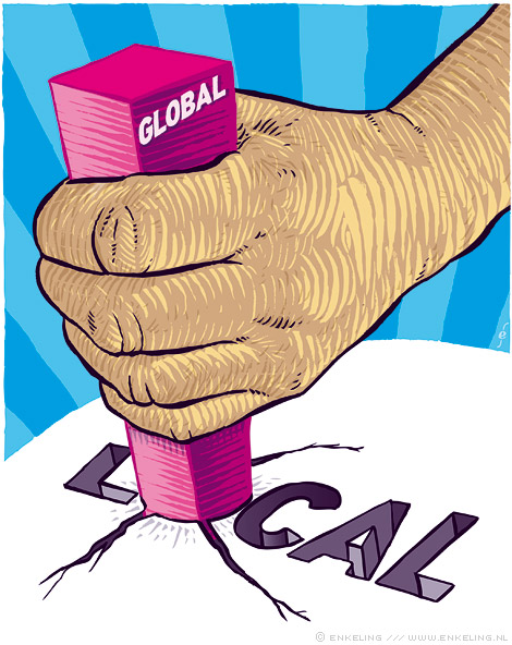 global, local, global, illustration, hand, square peg, round hole, research world, magazine, editorial, Enkeling, 2014