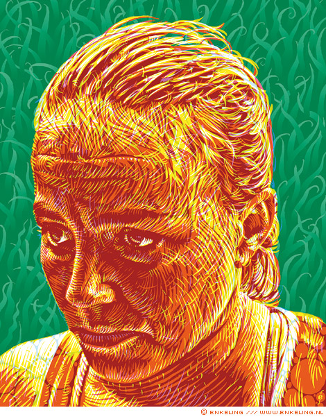 Maartje Paumen, portrait, portret, drawing, field, hockey, player, olympic champion, nrc.next, tabloid, Enkeling, 2014