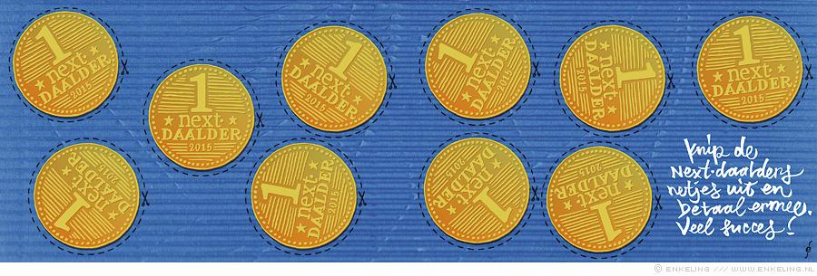 geld, munten, Karim Benammar, typographic, illustration, typografische, illustratie, nrc.next, Enkeling, 2015