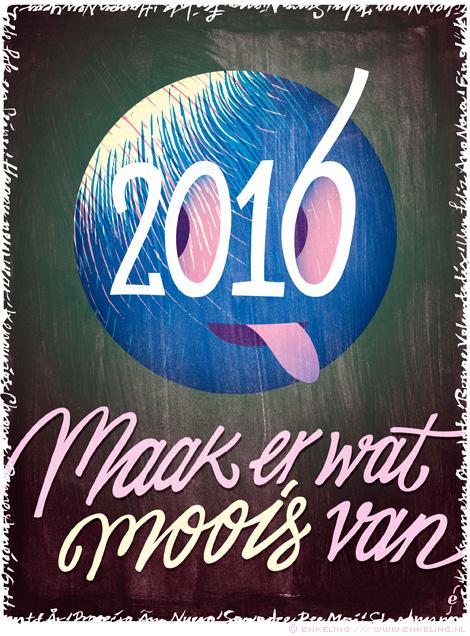 best wishes, beste wensen, maak er wat moois van, typography, globe, Enkeling, 2016