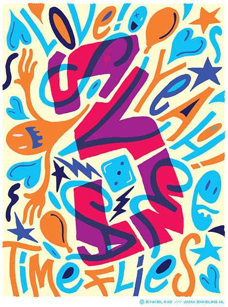 Svea Veenstra, de liefste, typography, birthday, lettering, handlettering, Enkeling, 2018
