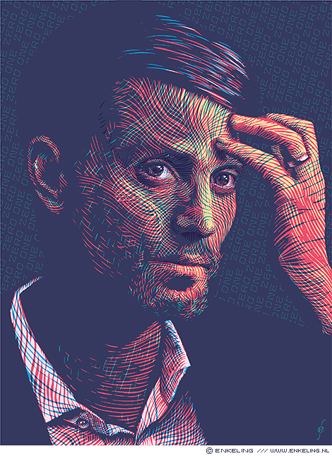 Nathaniel Gleicher, portrait, NRC Handelsblad, illustration, portret, Facebook, troll hunter, handdrawn, Enkeling, 2019