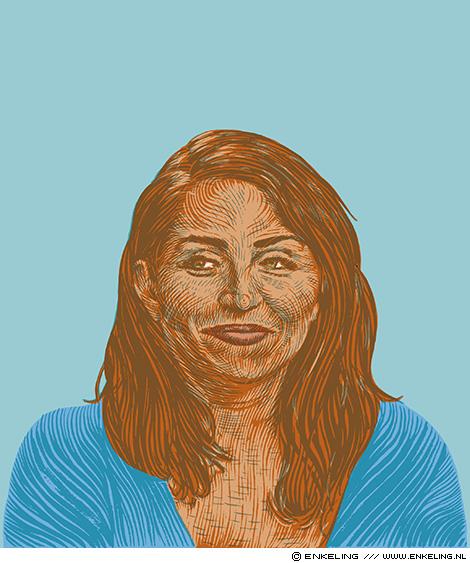 Nazmiye Oral, portrait, NRC, Het Blad, illustration, portraiture, handdrawn, Enkeling, 2019