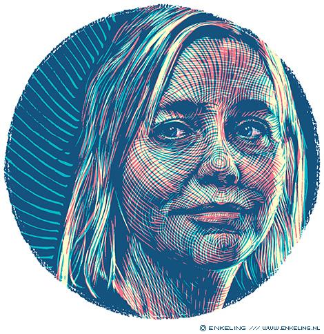 Stine Jensen, portrait, philosopher, filosoof, Filosofie Magazine, portret, illustration, handdrawn, Enkeling, 2019