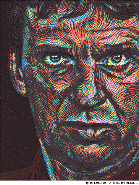 Willem Holleeder, portrait, De Volkskrant, illustration, portraiture, handdrawn, Enkeling, 2019