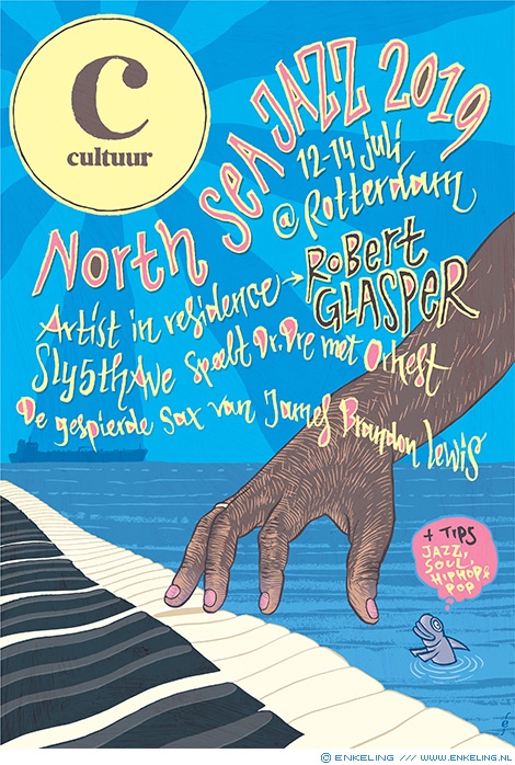 North Sea Jazz, Robert Glasper, Sly5thAve, NRC Handelsblad, piano, jazz, typography, hand lettering, handdrawn, Enkeling, 2019